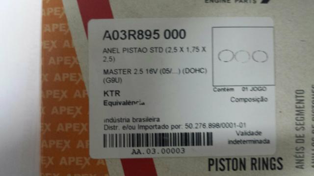 Jogo de Anéis do Motor Renault Master 2.5 16V STD (2.5*1.75*2.5) - DoLove
